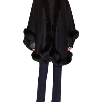 Sofia Cashmere Women's Fox Fur Trim U Cape - Black