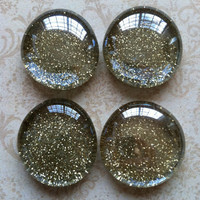 4 Glass Magnets - Glitter Magnets - Holiday Magnets - Gold Magnets - Decorative Magnets - Office Decor - Fridge Magnets - Vintage Style