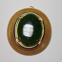Large Oval Pendant Green Stone and Goldtone Mesh Frame