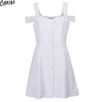 Women White V Neck Stripe Print Sexy Cold Shoulder Cute Button Up Cami Mini A Line Dress Summer New Elegant Empire Clothing
