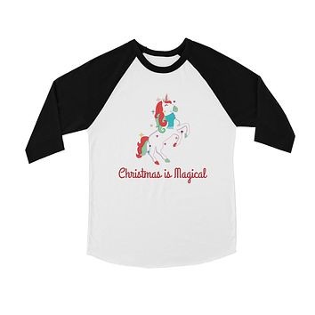 Christmas Magical Unicorn BKWT Kids Baseball Shirt