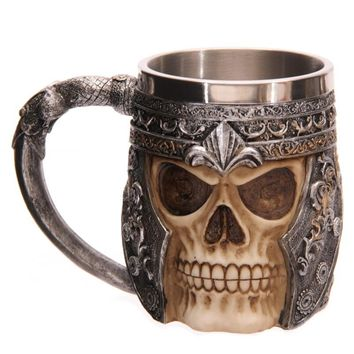Skull Mug Striking Skull Warrior Tankard Viking Beer Mug Gothic Helmet Drinkware Vessel