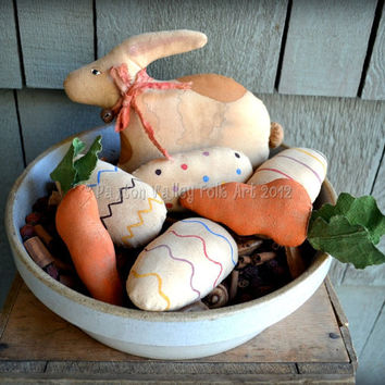 Brown Spotted Bunny Bowl Fillers Primitive Rabbit Carrots Easter Eggs Rustic Easter Decoration