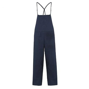 Retro Womens Rompers Ladies Jumpsuits Casual Solid Loose Spaghetti Strap Sleeveless Pockets Baggy Simple Overalls