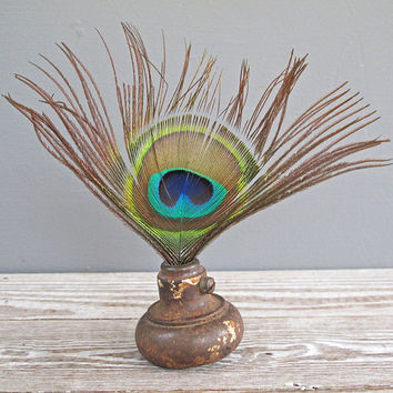 vintage door knob peacock feather display by KatyBitsandPieces