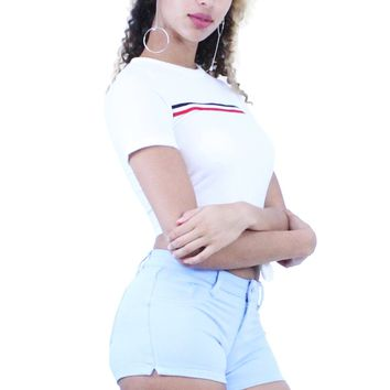 White Round Neck Short Sleeve Stripe Point Knotted T-Shirt Crop Top