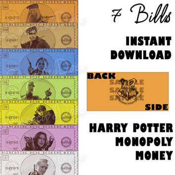 DIY Harry Potter Monopoly Money, Instant Digital Download - Money Only