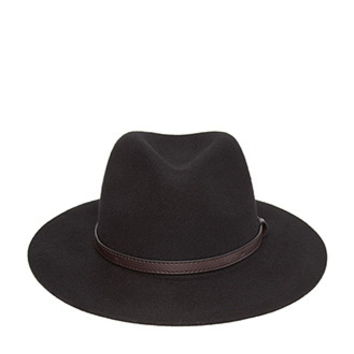 Faux Leather Band Wide-Brim Fedora