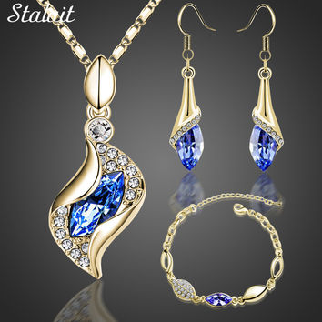 Fashion Bridal Jewelry Sets Horse Eye  Gold Color Austrian Crystal Pendant Necklace Earrings Bracelet Jewelry Sets