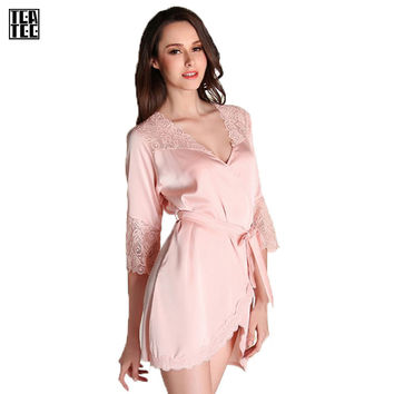 Teatee Bathrobe Warm Sexy Robe Sexy Gowns For Women Home Kimono Feminino Dressing Gown Pink Feel Silk Robe Sleepwear Homewear