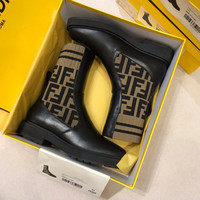 FENDI Logo-jacquard stretch-knit and leather boots