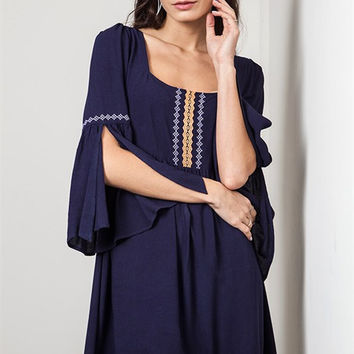 Lovely Navy Mini Dress with Detail Bell Sleeves