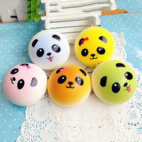 4CM Cute Colorful Panda Squishy Soft Buns Bread Key Chain Phone Straps