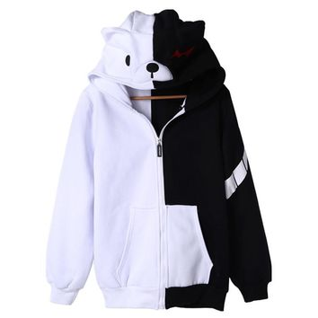 rxlzoon Anime Theory of Projectile Broken Dangan Ronpa Cosplay Costume Bear Hooded Hoodies With Ears Hood Cloak Wrap Gloves
