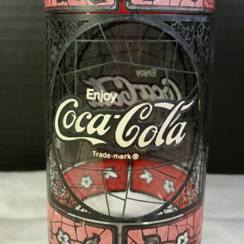 Coca Cola Tumbler Stained Glass, Vintage Coke Tumbler Drinking Glass Coca-Cola Red and Black Glass Man Cave Glass Coca Cola Drinking Glass