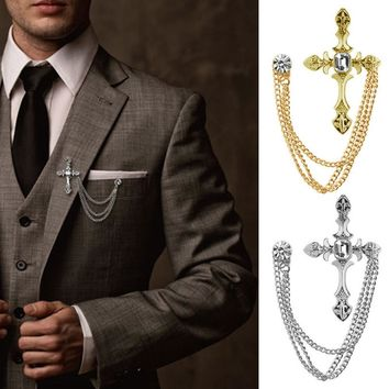 Men's Rhinestone Cross Chain Brooch Lapel Pin Shirt Suit Wedding Accessory Gift #Y51#