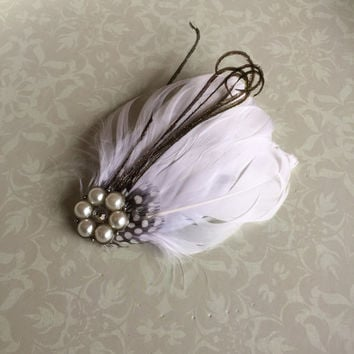White goose feather and pearl embellished fascinator or feather hair clip. Black and white wedding.