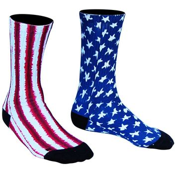 American Flag Tie Dye Athletic Crew Socks