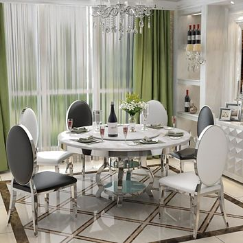 Silver Shine Marble Dining Table Set