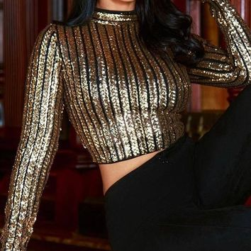 New Golden Patchwork Sequin Grenadine Long Sleeve Round Neck Sparkly Glitter Birthday Casual Blouse