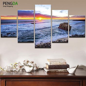 Oil Canvas Painting Picture Wall Art Poster Frame Home Decor 5 Panel Sunset Huge Waves Reef Beach Seascape Modern Printed PENGDA