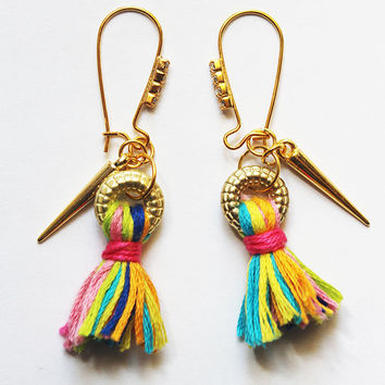 Kidney Rhinestone Rainbow Tassel Statement Earrings