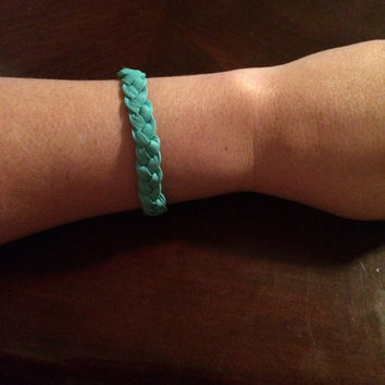 Soft Turquoise Braided Leather Essential Oil Diffuser Bracelet