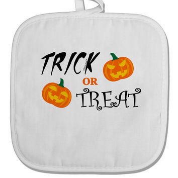 Trick or Treat Pumpkins White Fabric Pot Holder Hot Pad