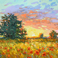 Warm sunset - Palette Knife Oil Painting on Canvas by Dmitry Spiros, Size 28 x 40 in, (70 x 100 cm), 2015