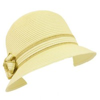 Ladies UPF 50 Beach Summer Sun Cloche Bucket Bell Dual Flower Hat 57cm Ivory $22.95