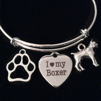 I Love My Boxer Dog Silver Expandable Charm Bracelet Adjustable Wire Bangle Gift Paw Print