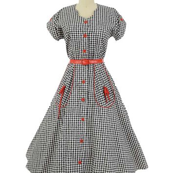 50s Red Trim Black White Gingham Check Button Front Dress