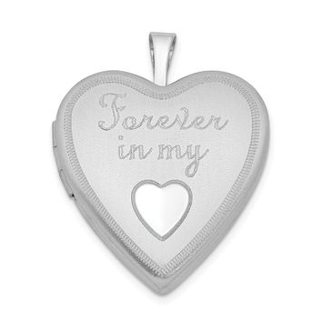 925 Sterling Silver Rhodium-Plated 20mm Forever In My Heart Locket