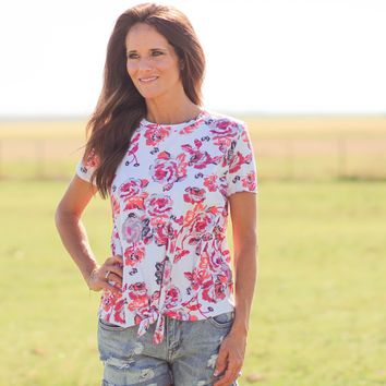 Sugarland Floral Tie Knot Top in Ivory