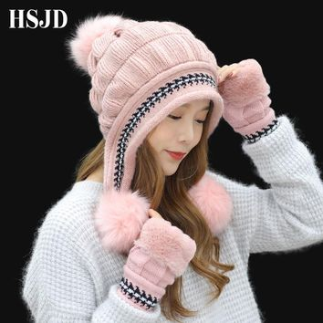 Girl Warm Ski New Brand Big Fur Pom Poms Gloves + knit hat set Winter Women Beanie Hat Rabbit Fur thick Skullies Female Cap