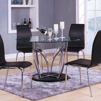 5 pc Elinor espresso chrome finish metal and round glass top dining table set with black vinyl chairs