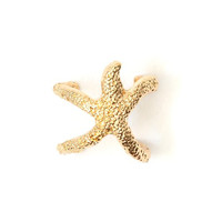 Starfish Ring Size 6 Gold Tone Aquatic Coral Reef Creature RH42 Ocean Mermaid Beach Fashion Jewelry