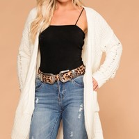 Melody Ivory Chenille Knit Pocket Cardigan