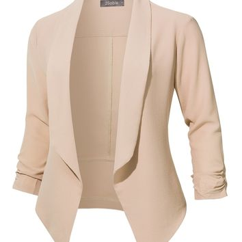 LE3NO Womens Casual Office Open Front Ruched 3/4 Sleeve Cardigan Blazer Jacket