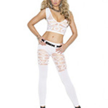 Sheer and opaque pattern cami top and matching leggings.