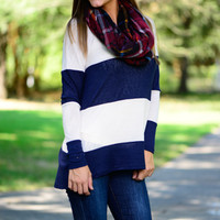 This Way Top, Navy/White