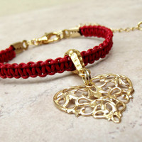 Red Leather Bracelet:  Gold Filigree Heart Charm Adjustable Bracelet, Braided Macrame Cord Bohemian Jewelry