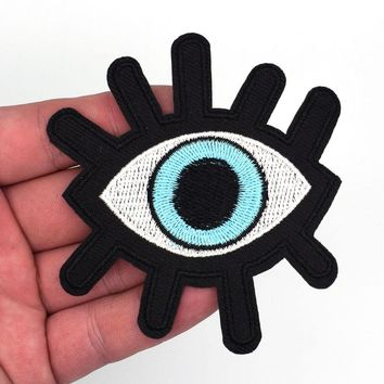 2Pcs Eye eyeball tattoo wicca occult goth punk retro applique iron-on patch