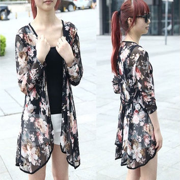 Women Casual Floral Cardigan Shawl Gauze Kimono Coat Blouse Tops [8833545164]