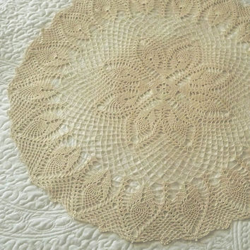 """Made To Order: Vintage Style 27"""" Pineapple Crochet Doily Large Crochet Doilie Handmade by VLLDesigns CR1030"""