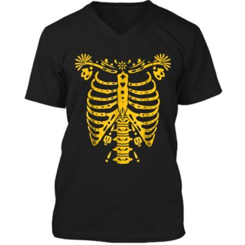 SKELETON  | Halloween Costume Mexican Day Of The Dead Mens Printed V-Neck T