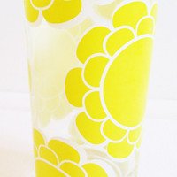 Vintage 1960's Retro Sunny Yellow Flower Colony Drinking Glass