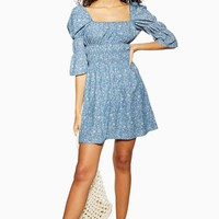 Shirred Floral Print Denim Dress | Topshop