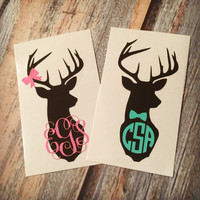 Deer Monogram Sticker or Decal - with Optional Antler Bow or Bowtie. Any Color Combo! For Laptop, Car, Notebook, phone, iPhone, etc.