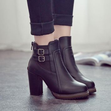 Women High Boots Leather Chelsea Boots Black High Heels Women Boots 2018 Buckle Martin Boots Female Shoes Fashion Women Shoes